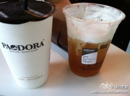 Iced coffee (left) and ice tea (right)