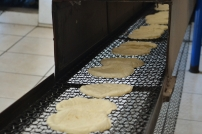 End of line for the tortillas: after cooked, this conveyor belt cools allows them to cool down
