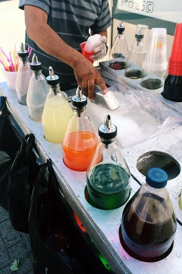 Street cart with syrups