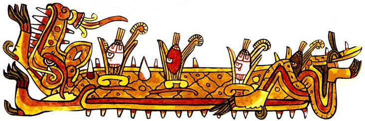 Cipactli, the Aztec earth creature, sprouting ears of corn