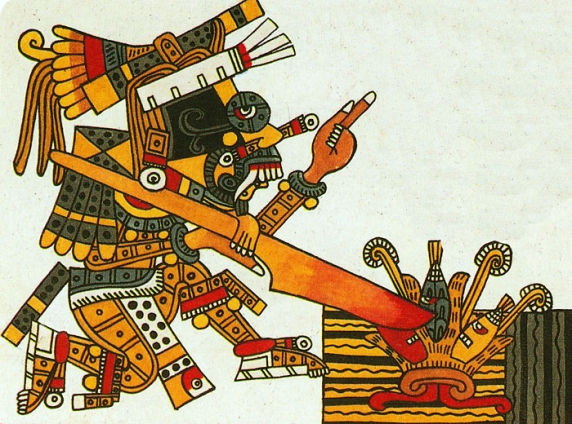 Aztec god Taloc planting corn with his stick